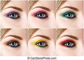 Set of bright colorful make-up.