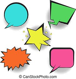 Set of bright colorful retro comic speech bubbles