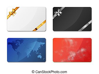 Set of bright different gift cards on white