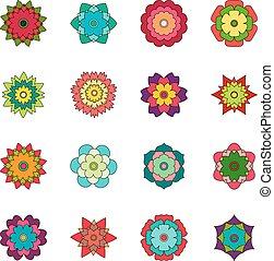 Set of bright flowers, vector illustration