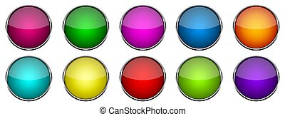 Set of bright glossy buttons. Vector illustration.