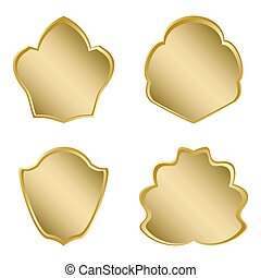 set of bright golden frames with gradient - vector
