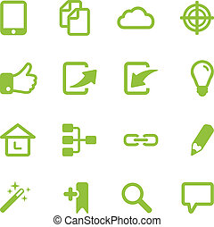 Set of bright green vector icons.