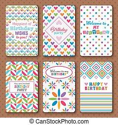 Set of bright happy birthday invitation cards