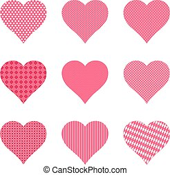 Set of bright hearts with pattern, vector illustration