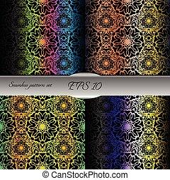 Set of bright lace-like seamless patterns