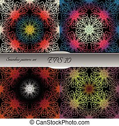 Set of bright lace-like seamless patterns