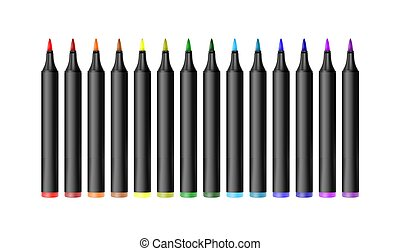 Set of bright markers on a white background. Realistic vector illustration.