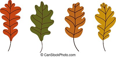 set of bright oak autumn leaves. Vector illustration in a flat style. Elements for autumn design and design for Halloween