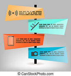 Set of bright paper infographics elements, vector illustration.