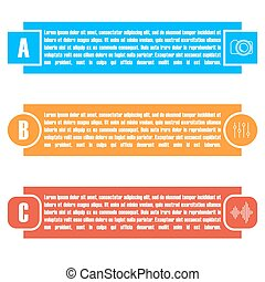 Set of bright rectangular elements infographic, vector illustration.