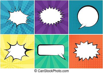 Set of bright retro speech bubbles with background