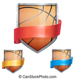 Set of Bright shield in the basketball ball inside with ribbons. Vector.