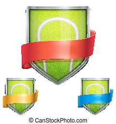Set of Bright shield in the tennis ball inside with ribbons. Vector.