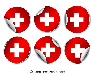 Set of Bright sticker with flag of Swiss