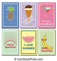 Set of bright summer cards