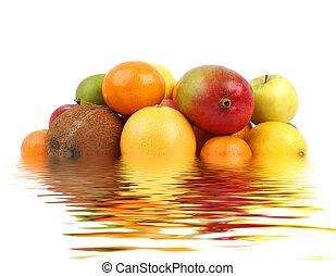 Set of bright tasty fruits