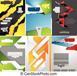 Set of bright tech flyer templates design