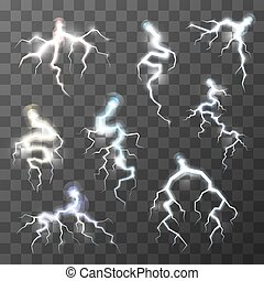 Set of bright thunderbolts on transparent background - Set...