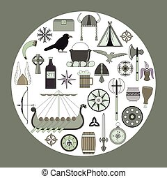 Set of bright vector illustrations for the design of Viking's life.