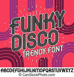 Set of bright vector upper case funky English alphabet letters isolated, for use in logo design for nightclub advertising