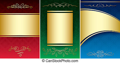 set of bright vintage backgrounds with gold decorative ornament - vector
