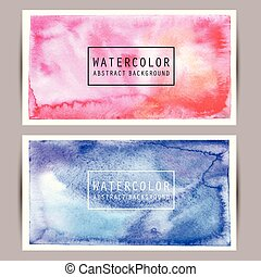 Set of bright watercolor banners for your design. Vector illustration.