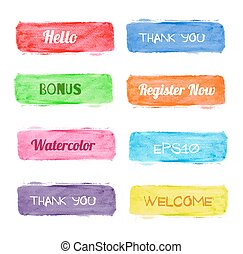 Set of bright watercolor banners