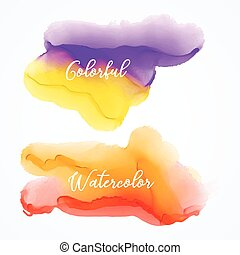 set of bright watercolor stain background