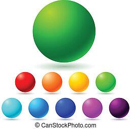 Set of brignt colored balls