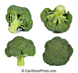 Set of broccoli isolated on the white background