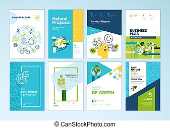 Set of brochure and annual report cover design templates of...
