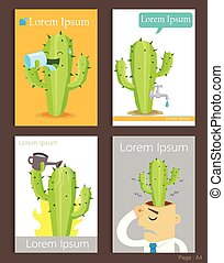 Set of Brochure Design cactus and water Templates.