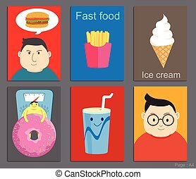 Set of Brochure Design cartoon style in fastfood concept