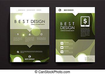 Set of brochure, poster design templates in neon molecule...
