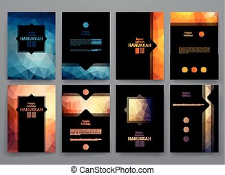 Set of brochure, poster design templates in Hanukkah style...