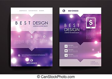 Set of brochure, poster design templates in neon molecule structure style