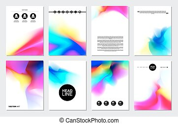 Set of Brochure Templates with Watercolor Splashes.