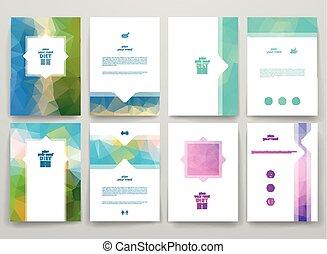 Set of brochures in poligonal style on diet theme.