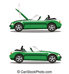 set of broken cartoon green cabriolet sport car before and after crash isolated on white
