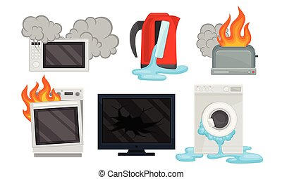 Set of broken equipment. Vector illustration on a white background.
