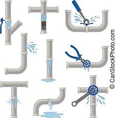 Set of broken water pipes. Vector illustration on white ...