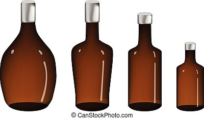 Brown Alcohol bottle isolated on white, vector
