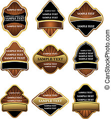 Set of brown and gold labels for design