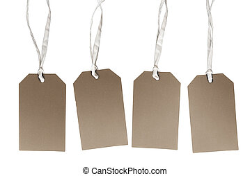 set of brown hang tag cardboard labels isolated on white