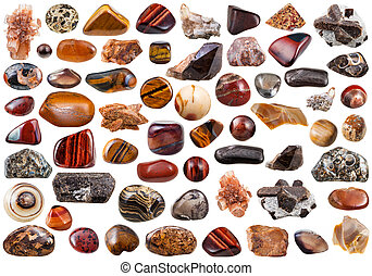 set of brown natural mineral stones and gemstones isolated on white background