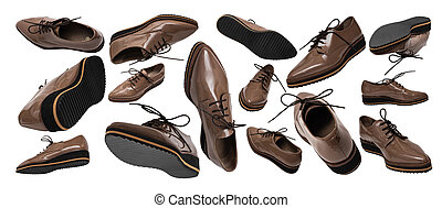 Set of brown patent leather shoes in different positions and angles isolated on white background. Banner. Flying or levitating objects. Women's fashion shoes concept.