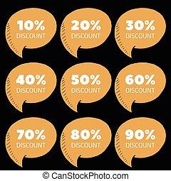 Set of brown percent discount speech bubble, sale vector illustration
