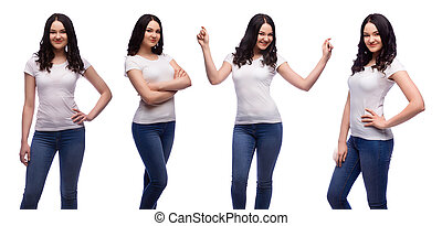set of brunette young woman in blank white t-shirt isolated