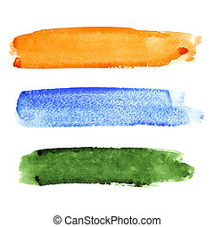 Set of brush strokes - Set of colorful watercolor brush...